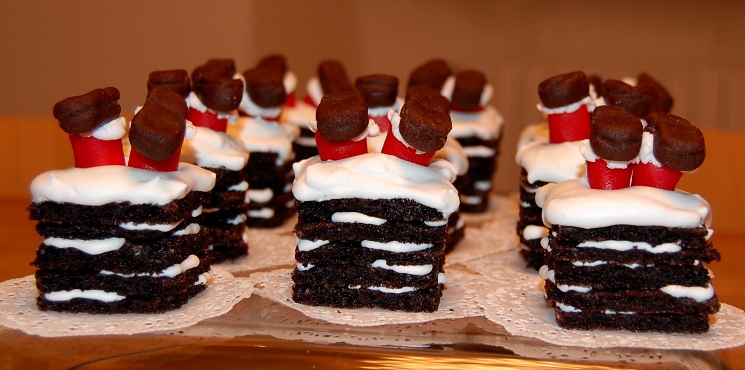 Santa Down the Chimney: marzipan santa and a stack of chocolate ...