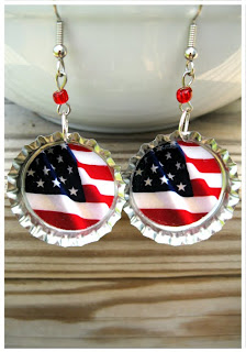 American Flag Bottle Cap Earrings