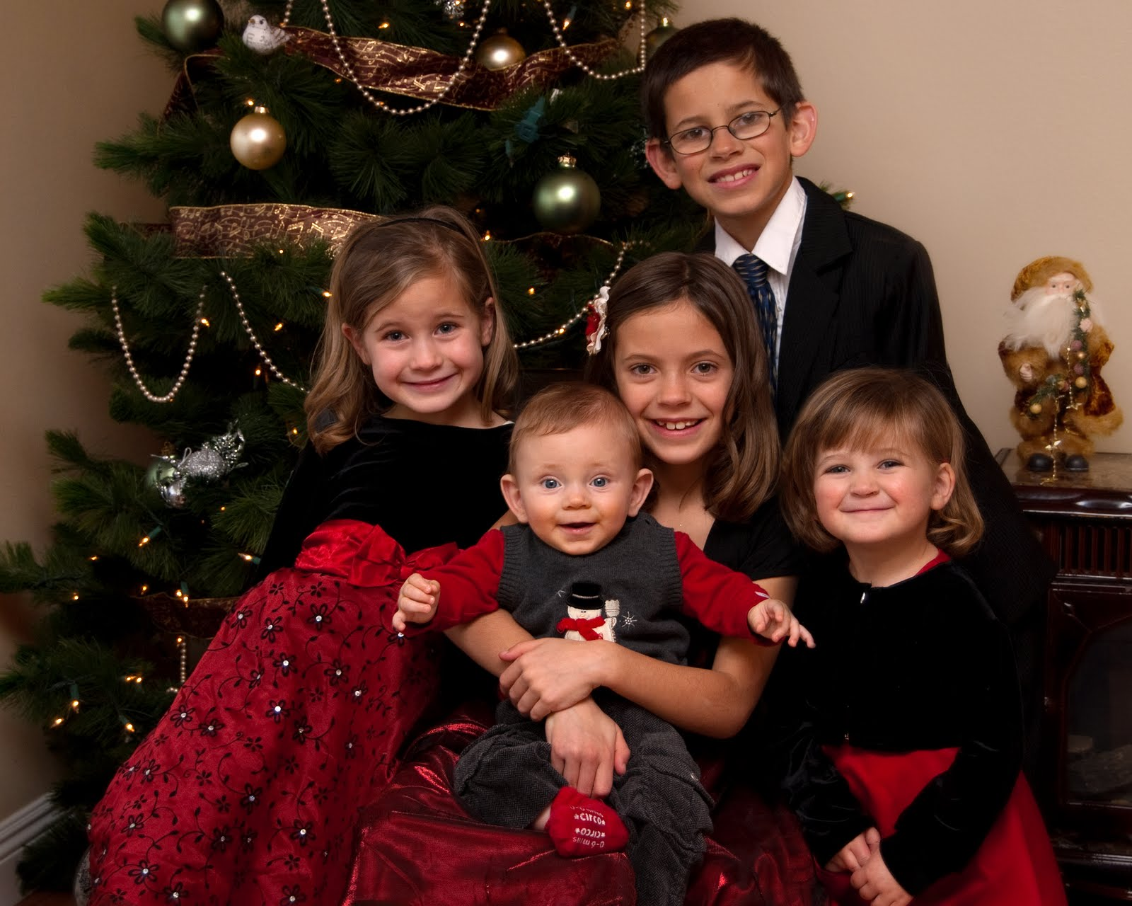 2 black and white with some color - Black Family Christmas Pictures