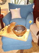 Denim Blue Chair and Ottoman