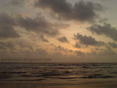clouds in the horizon after sunset photographed from calicut beach kerala india