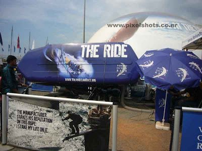 ocean race simulator and dome setup in the ocean race village at kerala cochin for visitors and tourists by race crew