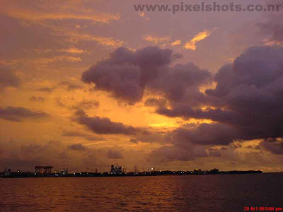 baeutiful sunset from marine drive cochin in eranakulam district of south indian state kerala