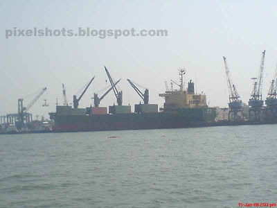 cochin ship yard photographed on a boat journey through the sea