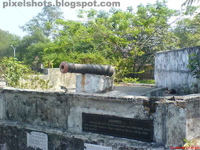 cannon used in the old portuguese fort named emmanuel fort placed in the sea beach side of fort kochi in kerala