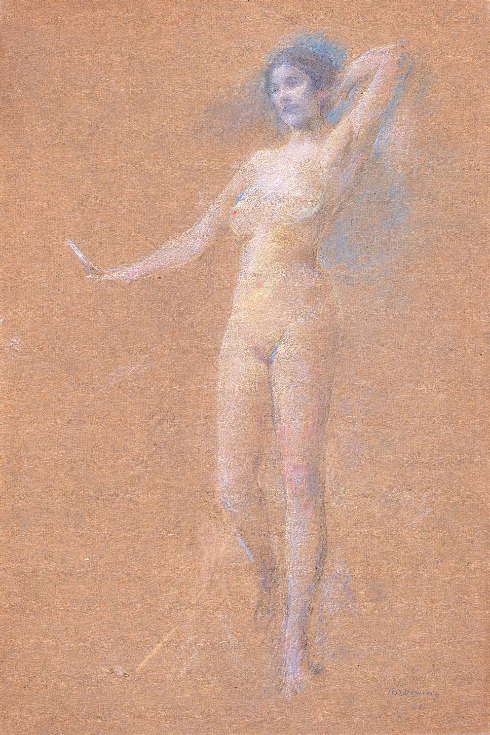 Thomas Wilmer Dewing   Standing Nude Figure of a Girl   n.d. christina aguilera classic hot pics