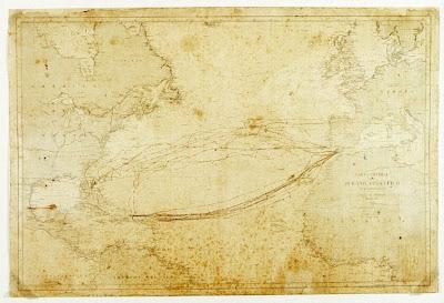 Carta General del Océano Atlántico Septentrional 1864, amb derrotes dibuixades