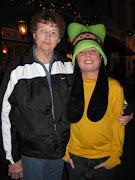 Goofy and my mother at Disney Land. (disney land rose bowl parade )