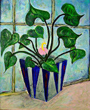 "Plant in Window, 24x24"", acrylic on canvas."