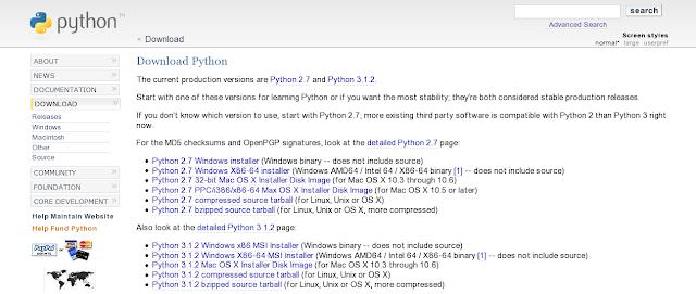 Página de Download Python