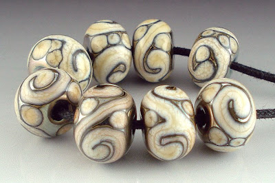 Triton and Ivory Glass Beads/BeadAbundant