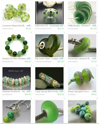 Green Lampwork Etsy Treasury