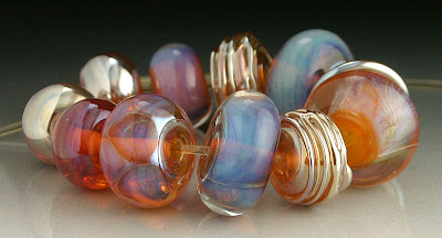 Pink, Orange, Purple and Gold Beads