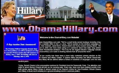 Aukce - prodej domény ObamaHillary.com