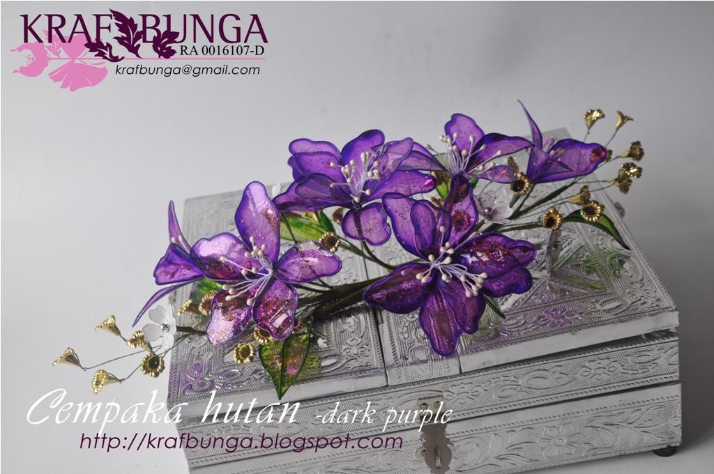 Bunga dulang cempaka hutan dark purple dengan glitters