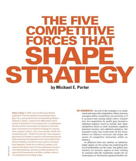 five forces that shape strategy Porter's five forces is a simple framework for assessing and evaluating the competitive strength and position of a business organisation industry, and can help to inform decisions relating to: whether to enter a specific industry whether to increase capacity in a specific industry and developing competitive strategies.