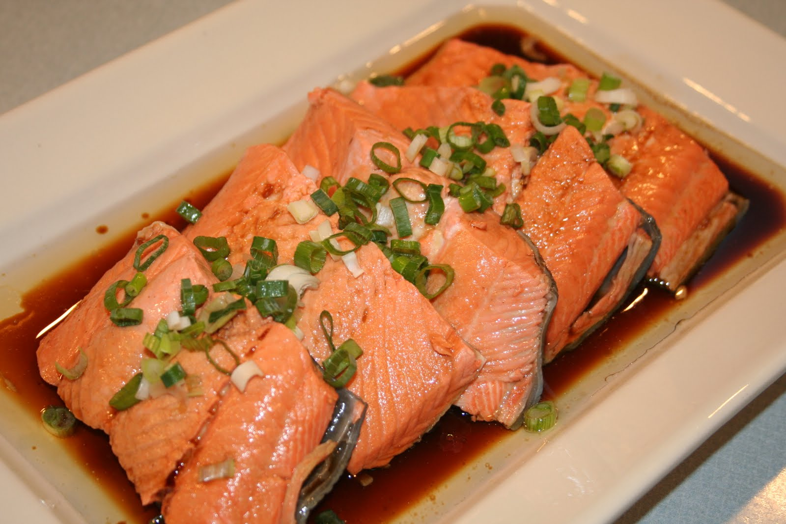 Cook with susan poached salmon chinese style for How to cook salmon fish
