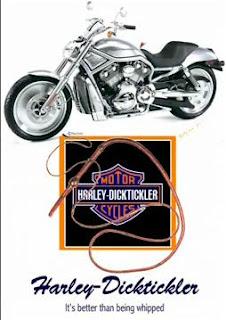 Harley Dicktickler T-shirt: Parody of Harley-Davidson superbike