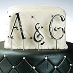 Silver Monogram Initial Cake Picks with Crystal Accent
