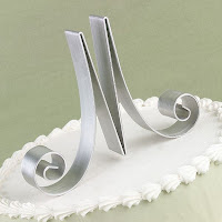 Brushed Aluminum Single Monogram Initial Cake Topper