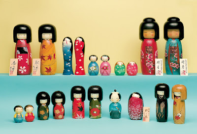 Japanese culture - Kokeshi Japanese traditional wooden dolls
