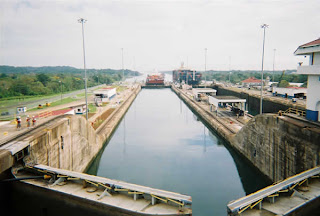 Gatun Lake top lock, facing Atlantic Ocean