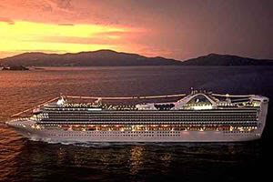 Grand Princess at sunset