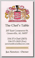 Business card, The Chef's Table