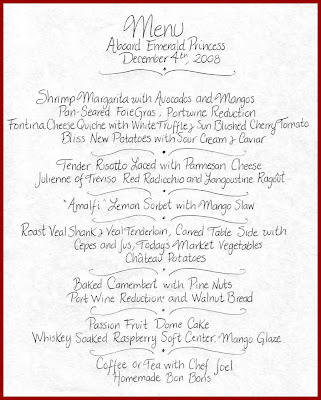 Menu: Chef's Table Dinner, Emerald Princess 12/4/2008