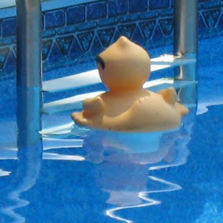 Ducky by the pool ladder.