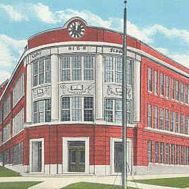 Cony High School, historic flatiron building