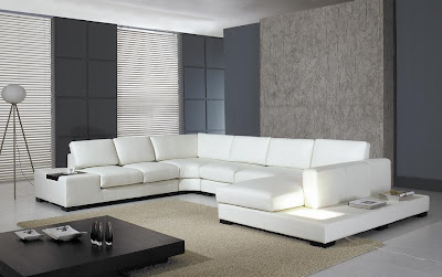 Contemporary Living Room Interior Decorating - Modern Leather Sofa