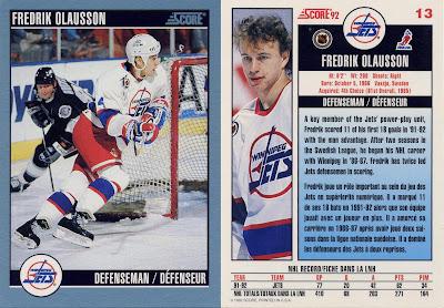 fredrik olausson, wayne gretzky, winnipeg jets, score, 92-93, nhl, hockey, hockey card