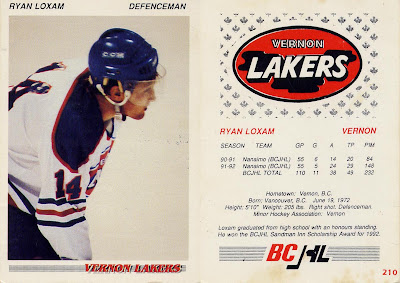 Ryan Loxam, Vernon Lakers, BCJHL, bchl, junior a, hockey, hockey card, 92-93