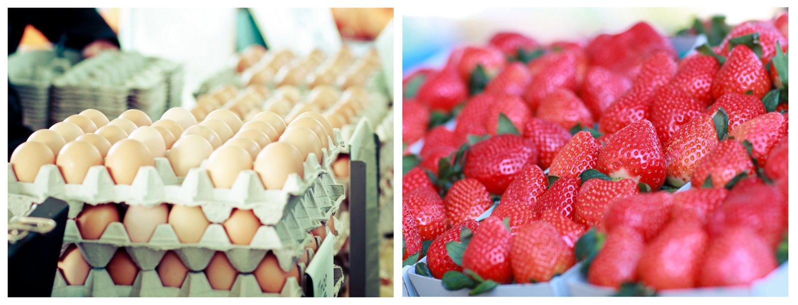 Davis Farmers Market Strawberries Eggs