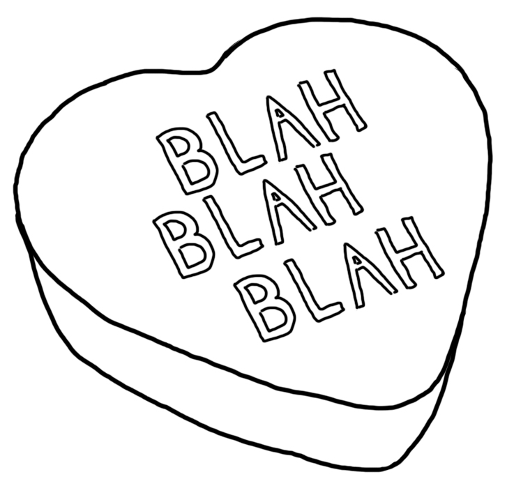 Conversation hearts coloring pages for Candy heart coloring pages