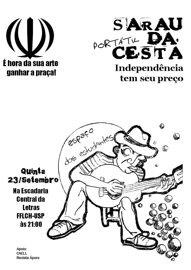 Sarau Portátil da Cesta Dia 23 de setembro(quinta) às 21h na Escadaria Central da LETRAS-FFLCH/ USP