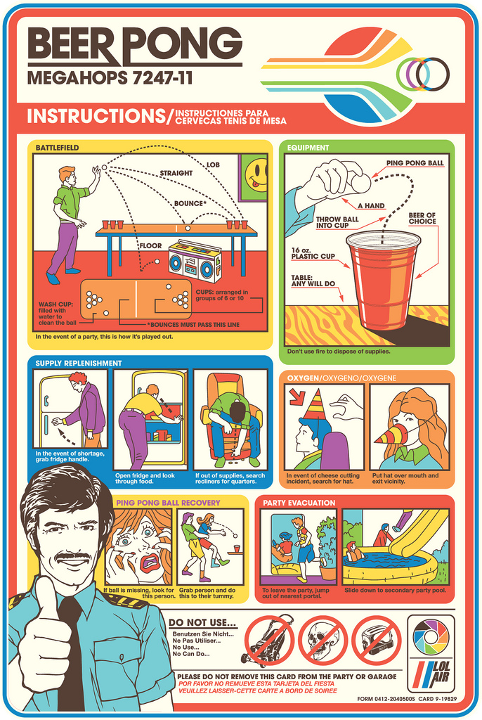 Art Of Posters Beer Pong Instructionsinfographic Airplane