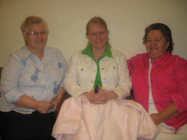 Aunt Becky, Aunt Carolyn and myself at Emory to un-hook from my 1st chemo treatment