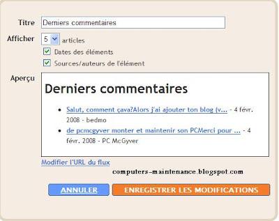 Derniers / récents commentaires Blogger