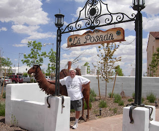 Click for Larger Image of La Posada Entrance, the Camel, and my friend John
