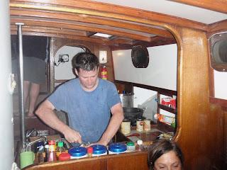 michael hodson making pasta in sailboat
