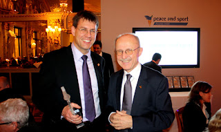 Two Germans in Monaco - ITTF Executive Vice President Thomas Weikert (left) and jury member Willi Lemke, UN Special Adviser on Sport for Development and Peace.