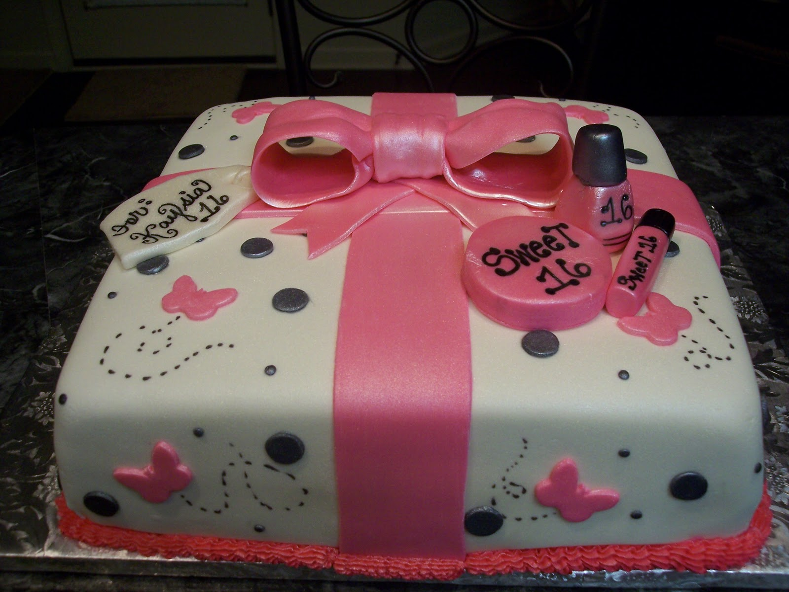 Mymonicakes pink black butterfly gift box cake with sweet 16 pink black butterfly gift box cake with sweet 16 accents negle Images
