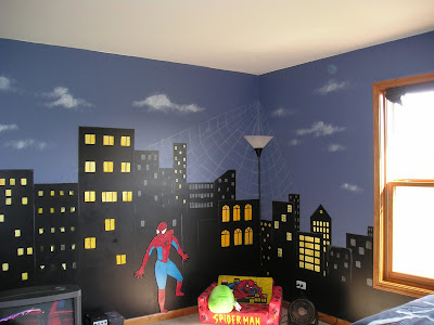 Changing four white walls super hero style jennifer rizzo for Cityscape bedroom ideas
