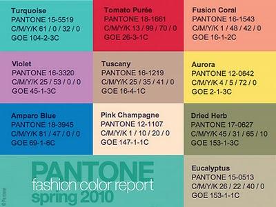 TENDINTE CULORI PRIMAVARA/VARA  2010, PANTONE COLOR REPORT