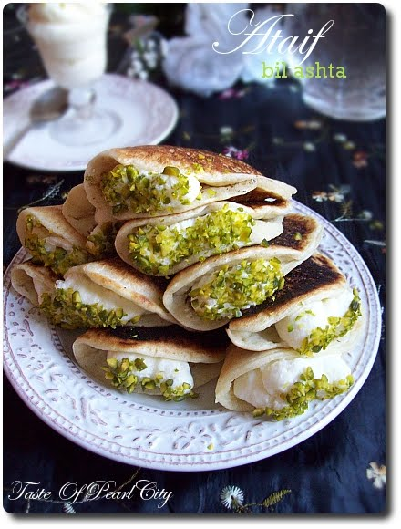 Taste of pearl city arabic desserts ataif bil ashta and muhallebi ashta is creamy filling made with milk cornstarch and qaimar iraqi cream i couldnt find this qaimar the actual recipe forumfinder Images