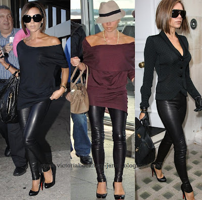 Victoria Beckham looked fierce in black leather pants, a loose black t-shirt