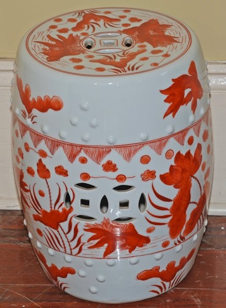 If Square Is Too Modern, I Found The More Traditional Round Shaped Stool In  Orange At Silk Road Collection. It Is Decorated With Goldfish And Has The  ...