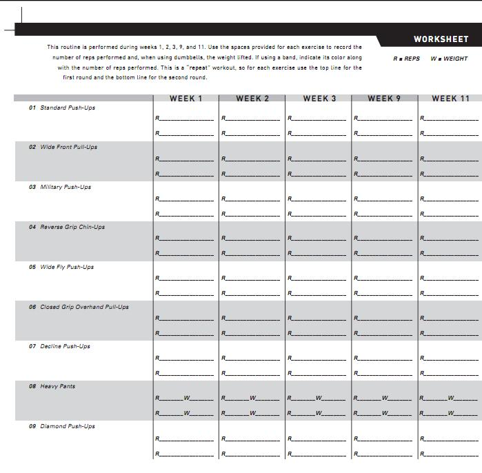 P90x 90 Day Challenge Day 9 Back Biceps – Workout Worksheet
